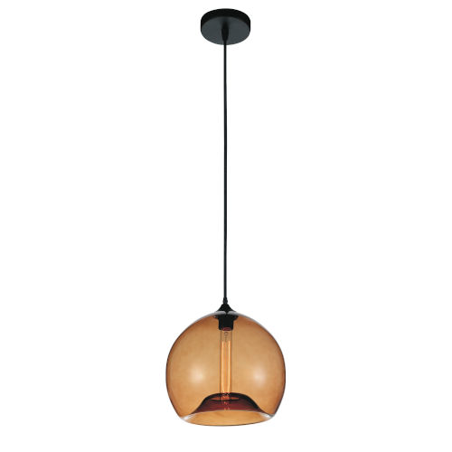 Black One-Light 12-Inch Pendant with Amber Glass