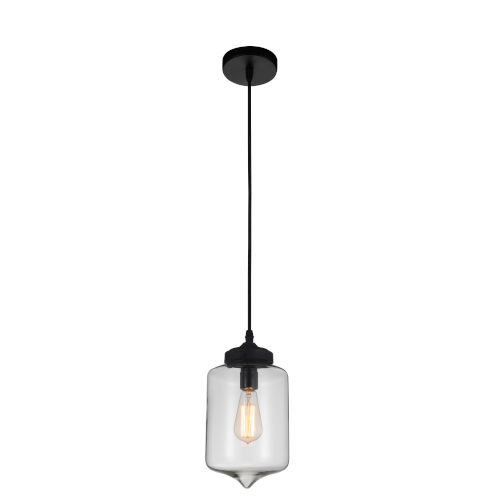 Black and Clear One-Light 11-Inch Mini Pendant