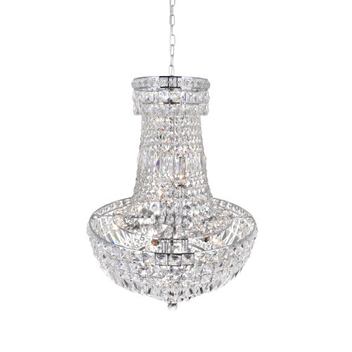 Stefania Chrome 13-Light Chandelier with K9 Clear Crystal