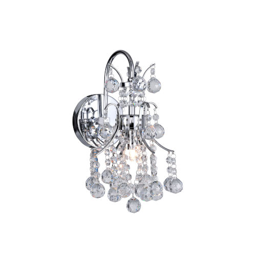 Princess Chrome One-Light Wall Sconce with K9 Clear Crystal
