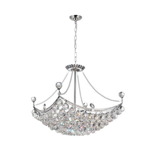 Jasmine Chrome Eight-Light Chandelier with K9 Clear Crystal