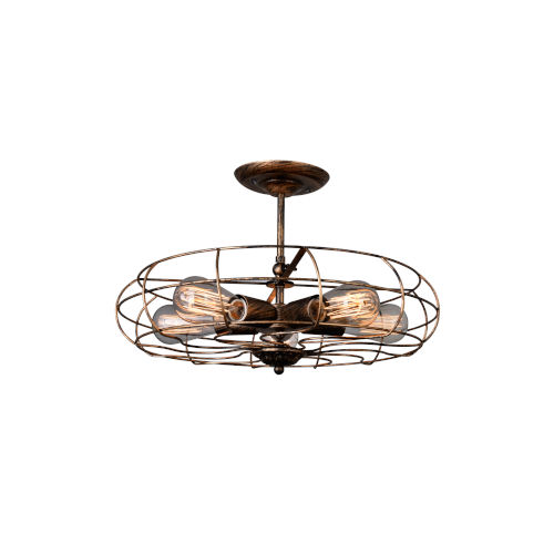 Pamela Antique Copper Five-Light Flush Mount