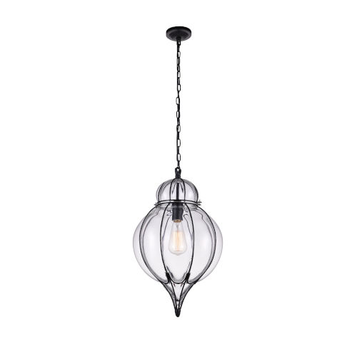 Escot Black and Wood One-Light 20-Inch Pendant with Clear Glass