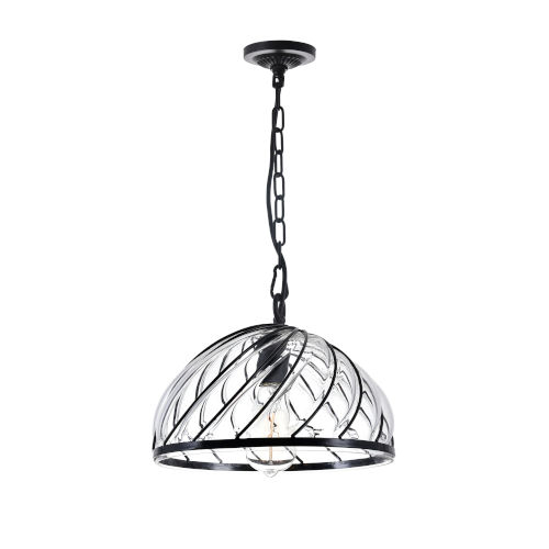 Escot Black and Wood One-Light 8-Inch Pendant with Clear Glass