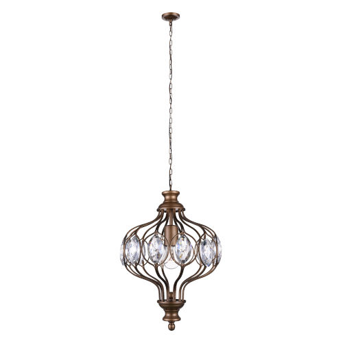Altair Antique Bronze One-Light Chandelier with K9 Clear Crystal