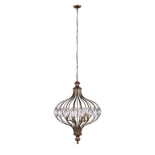 Altair Antique Bronze Three-Light Chandelier with K9 Clear Crystal