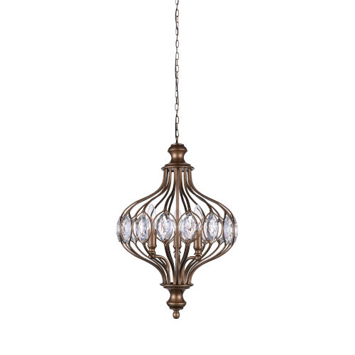 Altair Antique Bronze Six-Light Chandelier with K9 Clear Crystal