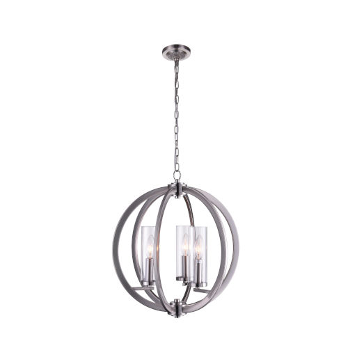 Elton Satin Nickel Three-Light Chandelier with Clear Glass