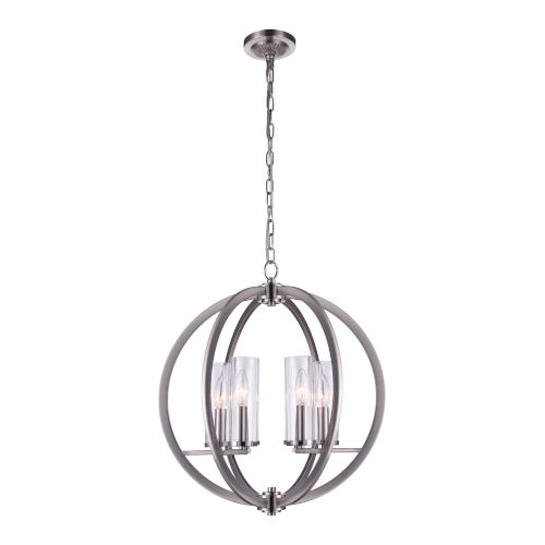 Elton Satin Nickel Six-Light Chandelier with Clear Glass