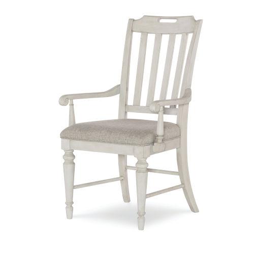 Brookhaven Vintage Linen Rustic Dark Elm Arm Chair, Set of Two
