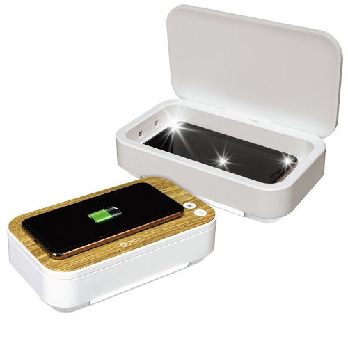 White UVC Disinfecting Phone Case with Wireless Charging