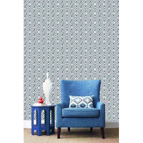 NextWall Navy Diamond Geometric Peel and Stick Wallpaper