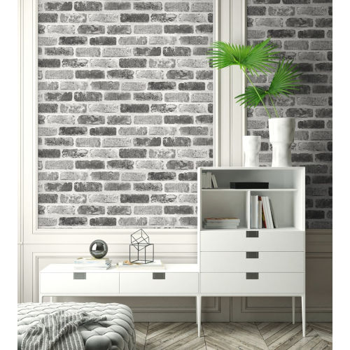 NextWall Gray Washed Brick Peel and Stick Wallpaper