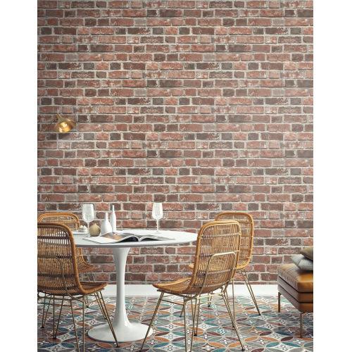 NextWall Distressed Red Brick Peel and Stick Wallpaper
