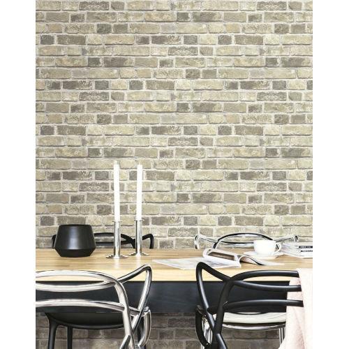 NextWall Distressed Neutral Brick Peel and Stick Wallpaper