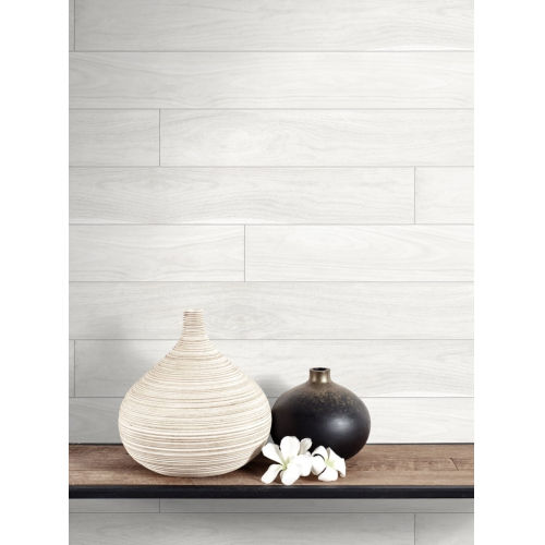 NextWall White Teak Planks Peel and Stick Wallpaper
