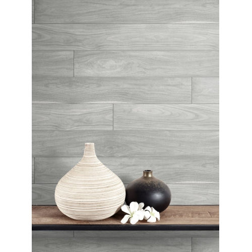 NextWall Gray Teak Planks Peel and Stick Wallpaper