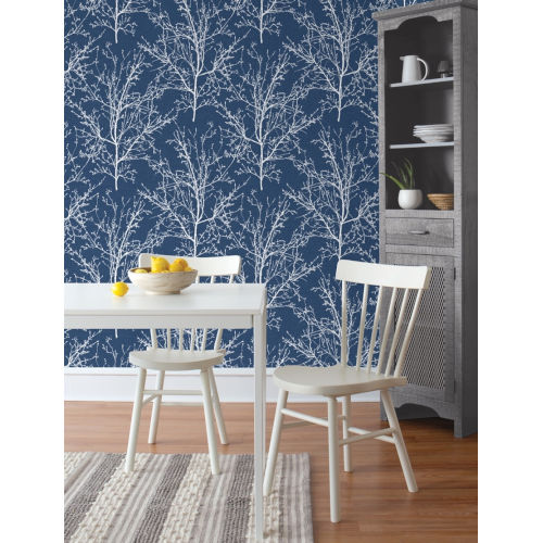 NextWall Blue Tree Branches Peel and Stick Wallpaper