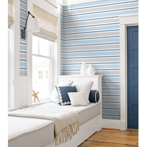 NextWall Linen Cut Stripe Peel and Stick Wallpaper