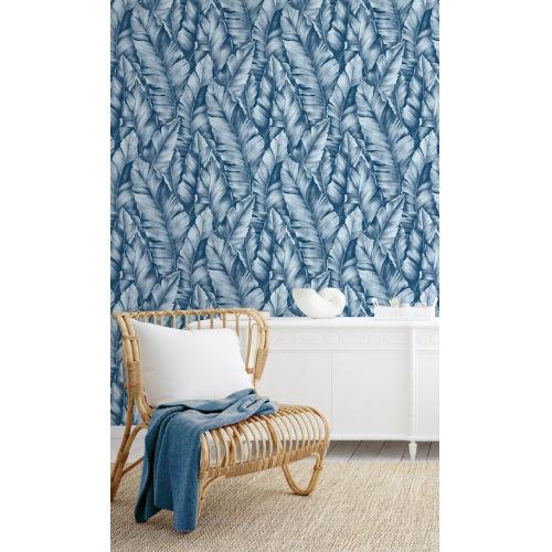 NextWall Blue Baha Banana Leaves Peel and Stick Wallpaper