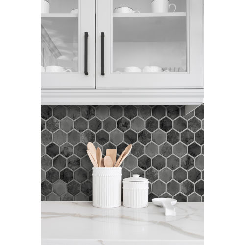 NextWall Black Inlay Hexagon Peel and Stick Wallpaper