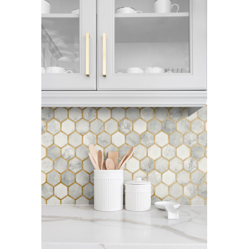 NextWall Red Inlay Hexagon Peel and Stick Wallpaper
