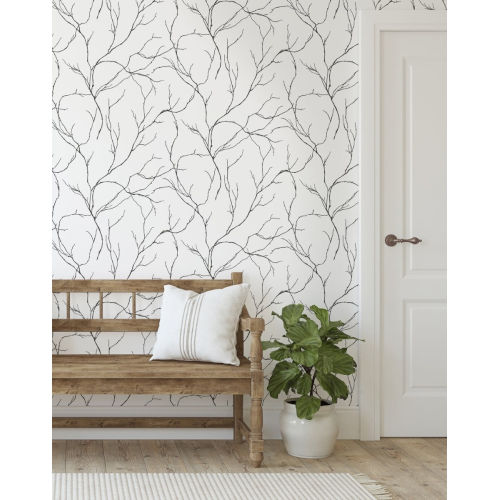 NextWall Black Delicate Branches Peel and Stick Wallpaper