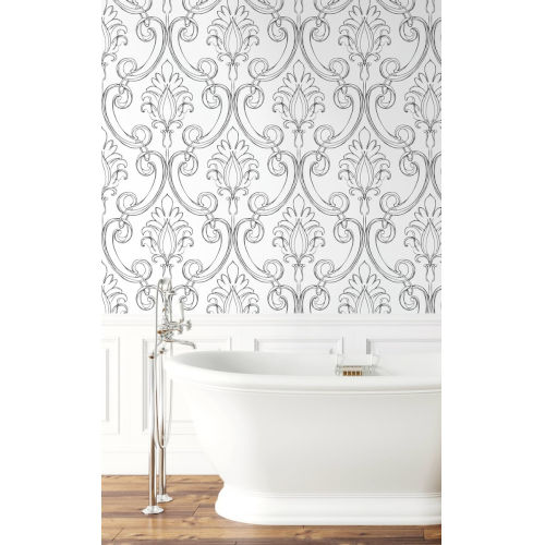 NextWall Black Sketched Damask Peel and Stick Wallpaper