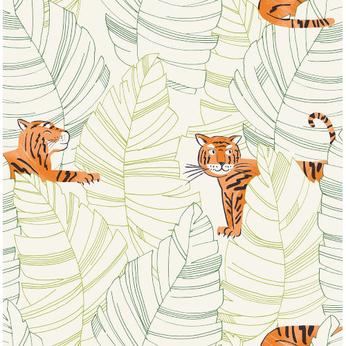 Day Dreamers Green and Orange Hiding Tigers Unpasted Wallpaper