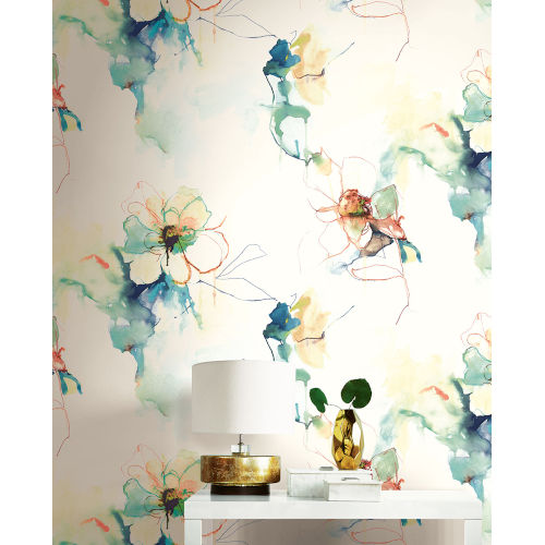 Living with Art Turquoise and Persimmon Anemone Watercolor Floral Unpasted Wallpaper