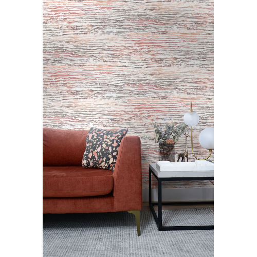 Living with Art Smoked Peach Watercolor Waves Unpasted Wallpaper