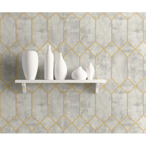 Living with Art Silver Birch and Metallic Gold Geo Faux Unpasted Wallpaper
