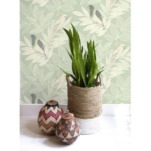Boho Rhapsody Mint and Ivory Paradise Island Birds Unpasted Wallpaper