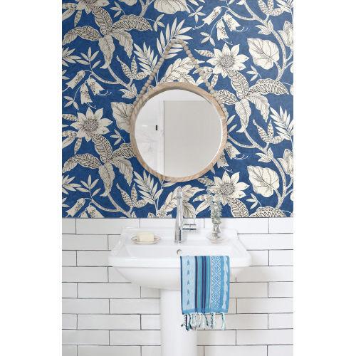 Boho Rhapsody Sapphire and Brushed Ebony Rainforest Leaves Unpasted Wallpaper