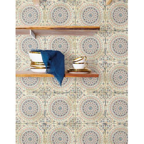 Boho Rhapsody Coral, Cream and Midnight Blue Mandala Boho Tile Unpasted Wallpaper