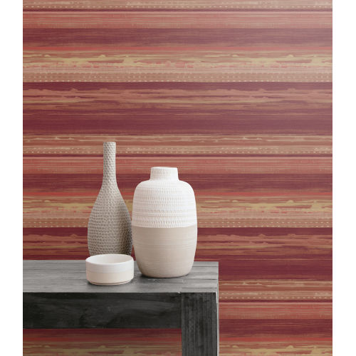 Boho Rhapsody Maroon, Taupe and Blonde Horizon Brushed Stripe Unpasted Wallpaper