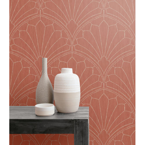 Boho Rhapsody Redwood and Ivory Scallop Medallion Unpasted Wallpaper