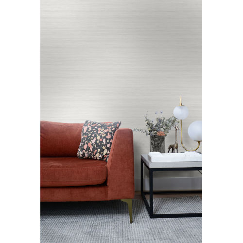 More Textures Lily White Shantung Silk Unpasted Wallpaper