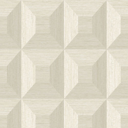 More Textures Beige Squared Away Geometric Unpasted Wallpaper