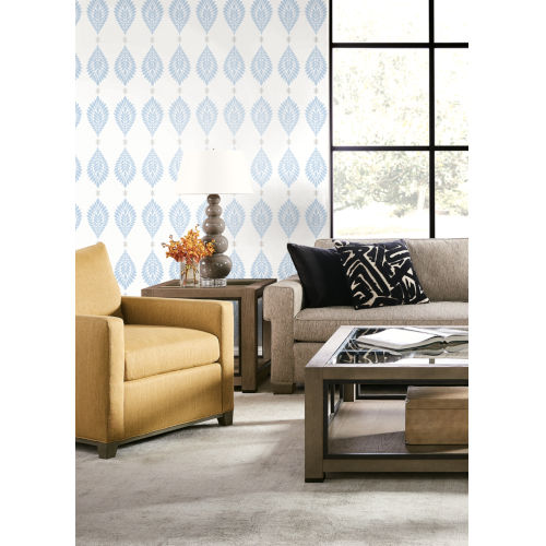 Lillian August Luxe Retreat Carolina Blue and Eggshell Mirasol Palm Frond Unpasted Wallpaper