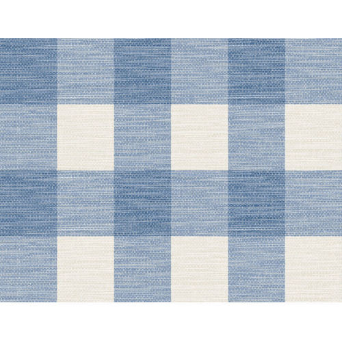 Lillian August Luxe Retreat Coastal Blue and Ivory Rugby Gingham Unpasted Wallpaper