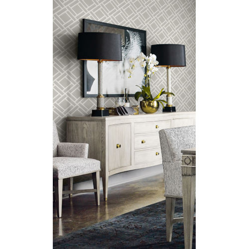 Lillian August Luxe Retreat Cove Gray and Fog Block Trellis Unpasted Wallpaper