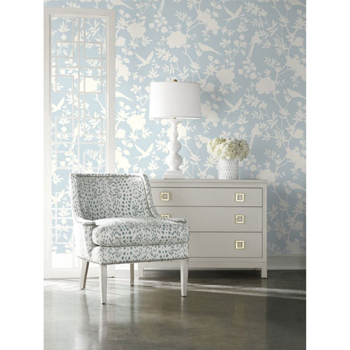 Lillian August Luxe Haven Blue Mono Toile Peel and Stick Wallpaper