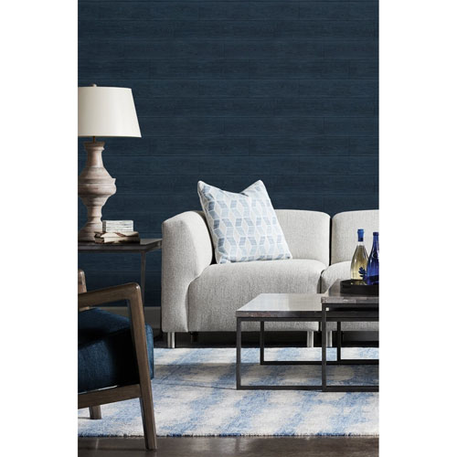 Lillian August Luxe Haven Navy Blue Rustic Shiplap Peel and Stick Wallpaper