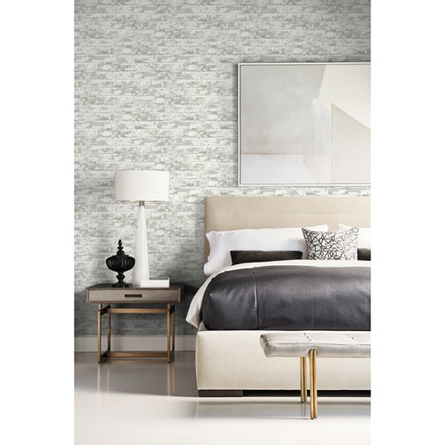 Lillian August Luxe Haven Gray Soho Brick Peel and Stick Wallpaper