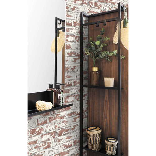 Lillian August Luxe Haven Brown Soho Brick Peel and Stick Wallpaper
