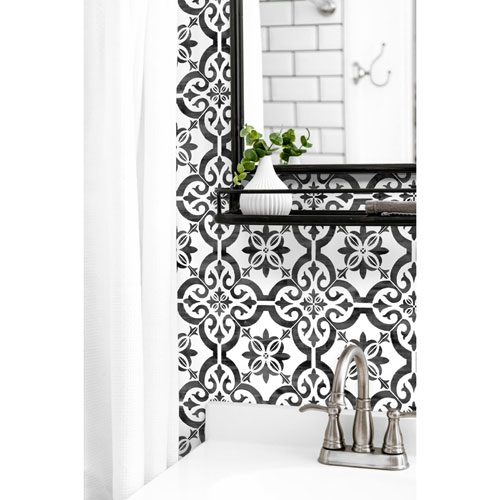 Lillian August Luxe Haven Black Porto Tile Peel and Stick Wallpaper