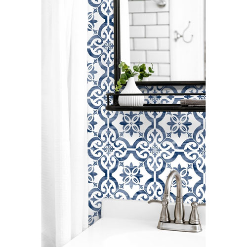 Lillian August Luxe Haven Blue Porto Tile Peel and Stick Wallpaper