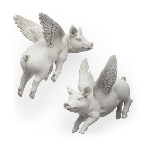 Hogbadi White Flying Pig Wall Sculpture, Set of Two