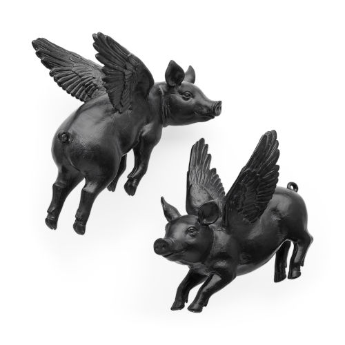 Hogbadi Black Flying Pig Wall Sculpture, Set of Two
